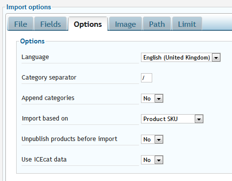 Fine-tuning import options