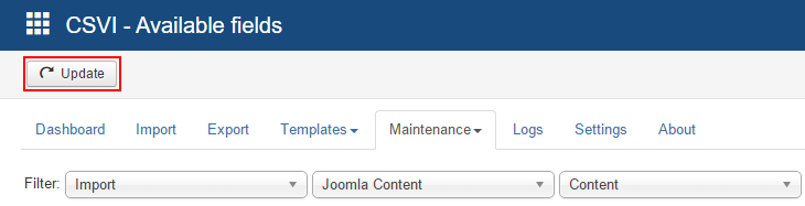 Maintenance available fields update