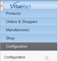 VirtueMart Configuration option